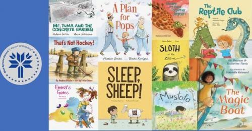 Blue Spruce Award poster featuring 10 Blue  Spruce nominated book covers