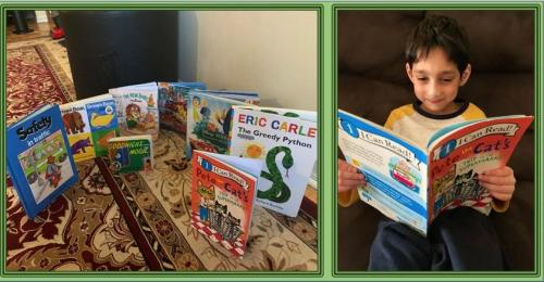 boy reading Pete the Cat & a selection of picture books on a carpet