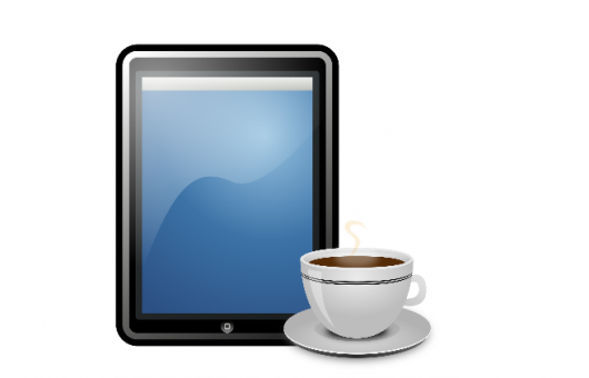 iPad and coffee cup