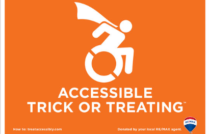 Poster of the Accessible Trick or Treating sign with a person in a wheelchair wearing a cape.